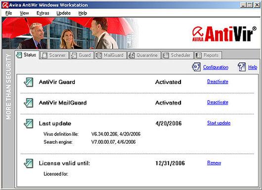 Avira AntiVir Personal - Free Antivirus screenshot
