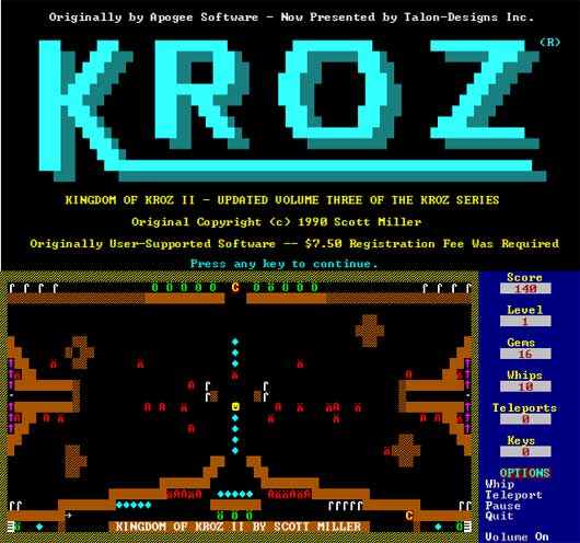 KingDom of Kroz in flash and Retro blaster