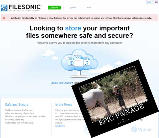 Filesonic has shutted down sharing functionality!