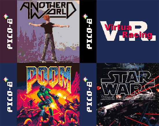 Another World, Poom, Virtua Racing and SW:Attack on the Deathstar on Pico8!